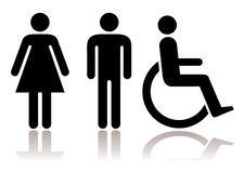 Toilet symbols disabled Royalty Free Stock Images