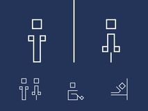 Toilet symbols. Public icons. Toilet symbols an a blue background Royalty Free Stock Images