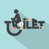 Toilet With Toilet Paper Typography Design vector illustration