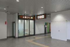 Toilet and track gate in Shin-Hakodate-Hokuto station. Stock Photo