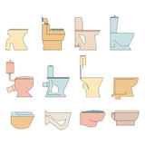 Toilet types line icons. Colorful toilet seats vector illustration Royalty Free Stock Image