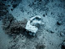 Toilet underwater in the sea stock photography