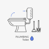 Toilet vector icon. With schematic instructional arrows. WC linear icon. With brush and plunger set vector illustration