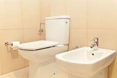 Toilet WC and Bidet. Bathroom with toilet WC and bidet. Classic style Royalty Free Stock Photography