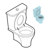 Toilet WC coloring book. Bathroom accessories in linear style Stock Photos