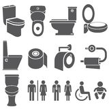 Toilet and wc symbol set. Set of toilet and WC symbol, icons Royalty Free Stock Photography
