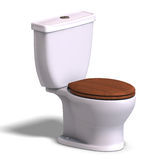 Toilet with wooden seat Stock Photos