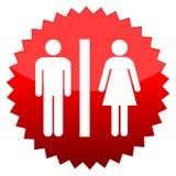 Toilete, signe rouge du soleil illustration stock