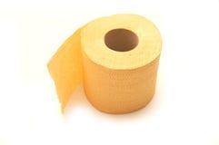 Toiletpapier dat op wit wordt geïsoleerdt Stock Foto's