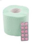 Toiletpapier en drugs voor diarree Stock Foto