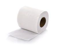 Toiletpapier op witte achtergrond Stock Afbeelding