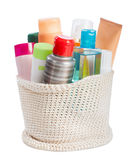 Toiletries in backet Stock Images