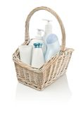 Toiletries in basket Stock Image