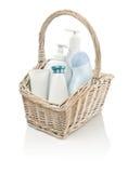 Toiletries in basket Stock Image