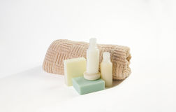 Toiletries bathroom products, Shampoo shower gel  Royalty Free Stock Photo