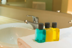 Toiletries in bathroom Royalty Free Stock Photo