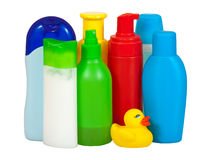 Toiletries bottles Stock Photos