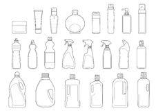 Toiletries bottles icon set Royalty Free Stock Photos
