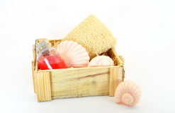 Toiletries in box. Toiletries in wooden box isolated on white Stock Image