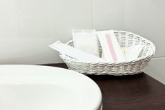 Toiletries in hotel bathroom Stock Photography