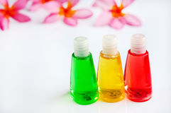 Toiletries with plumeria flower and towel Royalty Free Stock Photography