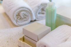 The toiletries set. Body Lotion, soap and towel Stock Photography