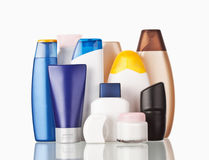 Toiletries. Set of colorful toiletries cosmetic plastic bottles Stock Photo