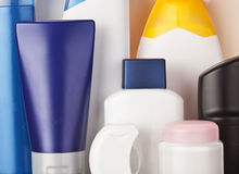 Toiletries. Set of colorful toiletries cosmetic plastic bottles Royalty Free Stock Photos