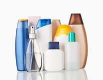Toiletries. Set of colorful toiletries cosmetic plastic bottles Stock Photography