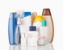 Toiletries. Set of colorful toiletries cosmetic plastic bottles Stock Image