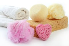 Toiletries stuff sponge gel shampoo towels Stock Photos