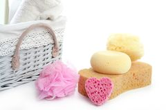 Toiletries stuff sponge gel shampoo towels Royalty Free Stock Image