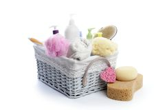 Toiletries stuff sponge gel shampoo towels Royalty Free Stock Photos