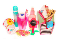 Toiletries stuffs for little girl Royalty Free Stock Photo