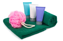 Toiletries on towel Royalty Free Stock Image