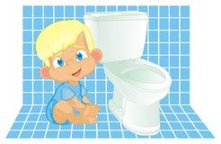 toiletroom和男婴 库存例证