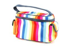 Toiletry bag. Closed colorful toiletry bag isolated on white background Stock Photos