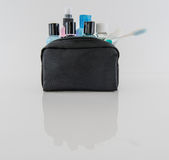 Toiletry Bag and Travel Toiletries royalty free stock images