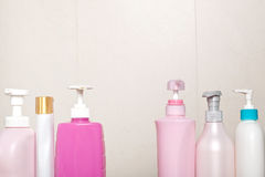 Toiletry bottles in bathroom. Different type of toiletry bottles in a bathroom Stock Photography