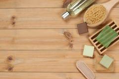 Toiletry Set. Soap Bar And Liquid. Shampoo, Shower Gel, Body Mil. Toiletry Set. Soap Bar And Liquid Shampoo, Shower Gel, Body Milk, Towel. Spa Kit. Top View Royalty Free Stock Photos
