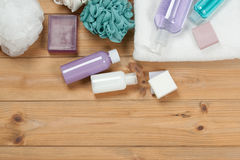 Toiletry Set. Soap Bar And Liquid. Shampoo, Shower Gel, Body Mil. Toiletry Set. Soap Bar And Liquid. Shampoo, Shower Gel Body Milk, Towel. Spa Kit. Top View Stock Images