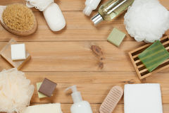 Toiletry Set. Soap Bar And Liquid. Shampoo, Shower Gel, Body Mil. Toiletry Set. Soap Bar And Liquid Shampoo, Shower Gel, Body Milk, Towel. Spa Kit. Top View Royalty Free Stock Image