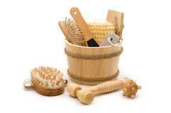 Toiletry and skincare. Wooden accessories in the wooden bucket Stock Photos
