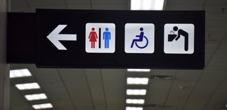 Toilets disabled symbol and drinking water signs in departure ha Royalty Free Stock Photo