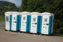 Toilets installed at a public event Stock Photography