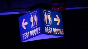 Toilets Sign board at pub stock video