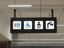 Toilets sign and drink water panels in airport. Stock Images