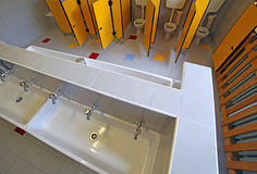 Toilets and sinks in the bathroom of the kindergarten Royalty Free Stock Image