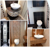 Toilets wc collage. With tiles royalty free stock images