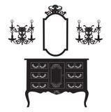 Toilettafel en de lampen van de van het spiegelkader en muur vector illustratie